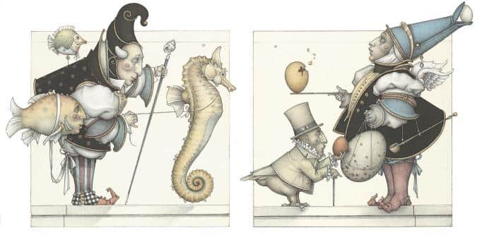 The seahorse & The egg Collector michael parkes litho