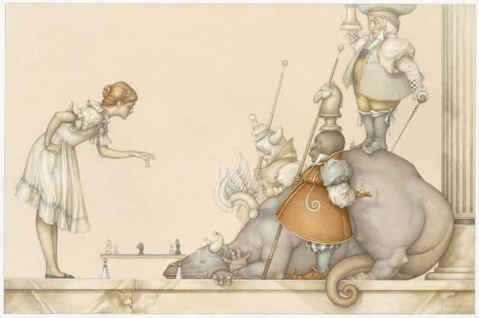 The chess game michael parkes litho